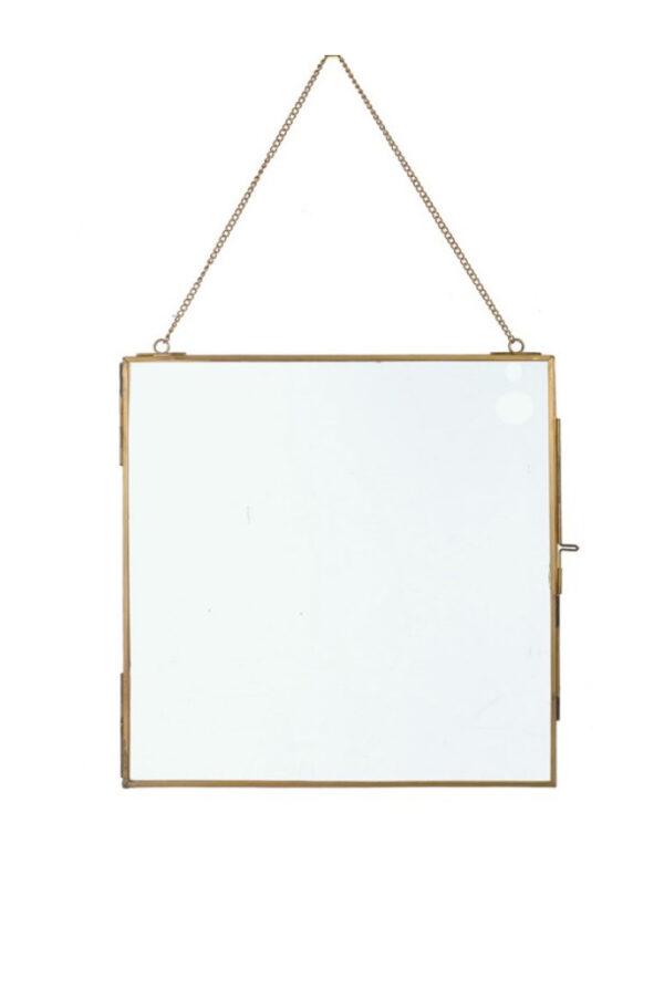 Cornice portafoto da parete con profili in metallo oro con catenina largh. 25 x h. 25 cm