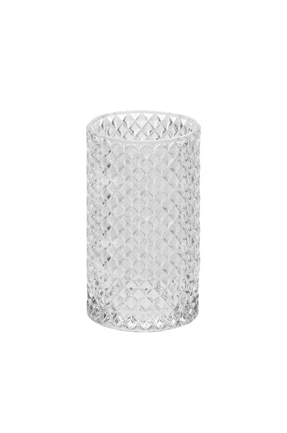 Vaso Cilindro portacandele - portafiori in vetro trasparente con rombi d. 10 cm h. 20 cm