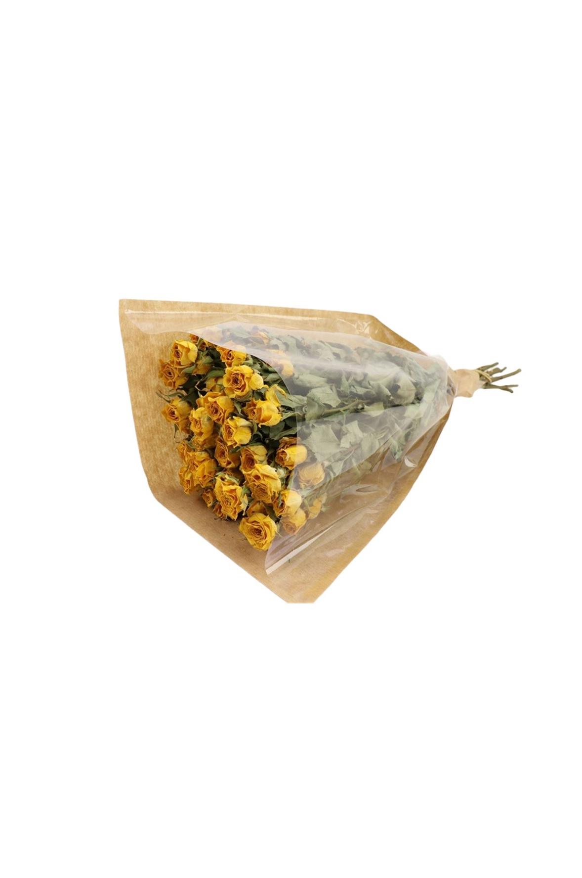 Mazzo di 10 fiori di Rosa colore giallo essiccata e stabilizzata l. 40 cm