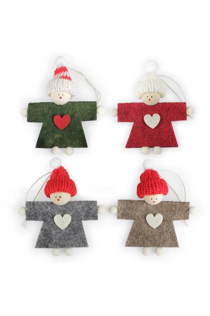 Set 4 Appendini Natale bimbi in legno e panno lenci con cappellino e sciarpa h. 12 cm