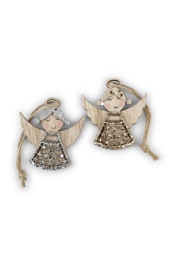 Set 2 Appendini Natale Angeli in legno con ali e vestitini glitter oro e argento e con filo 6 x h. 15 cm