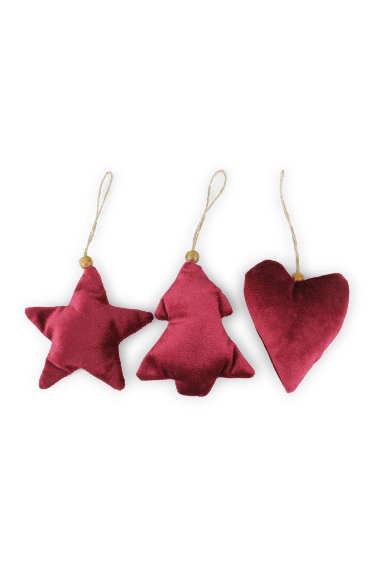 Set 3 Appendini Natale Stella, Albero di Natale e Cuore in velluto bordeaux con cordino b. 8,5/10 x h. 10 cm