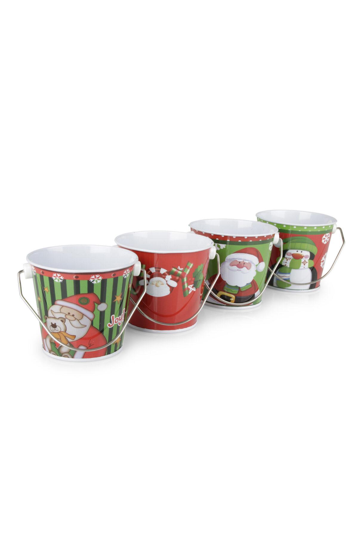 Set 8 Vasi secchiello natalizi in metallo con manico in 4 fantasie assortite d. 8,5 x l. 7,4cm