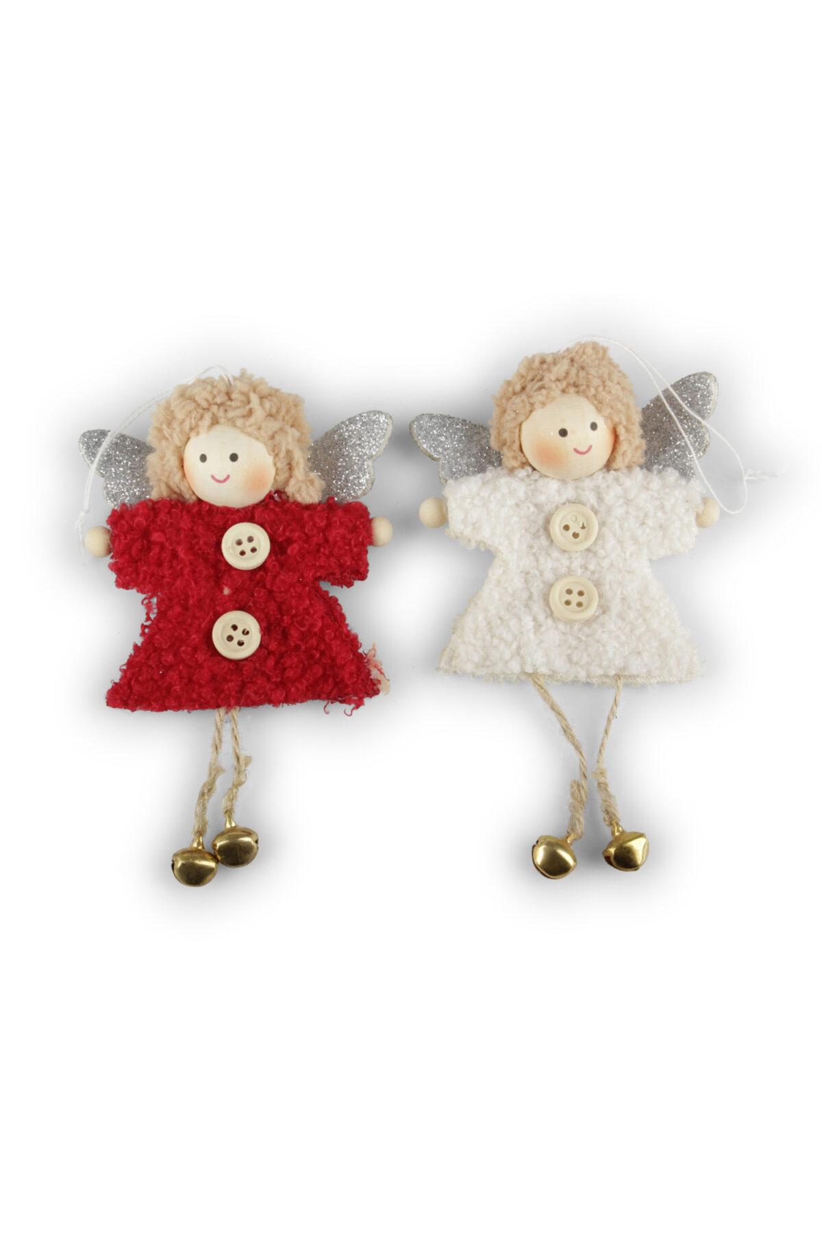 Set 2 Appendini Natale Angeli in stoffa con ali glitter, piedi con campanelle e con filo 13 x h. 20 cm