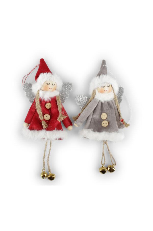 Set 2 Appendini Natale Angeli in stoffa e velluto con ali glitter, piedi con campanelle e con filo 18 x h. 22 cm