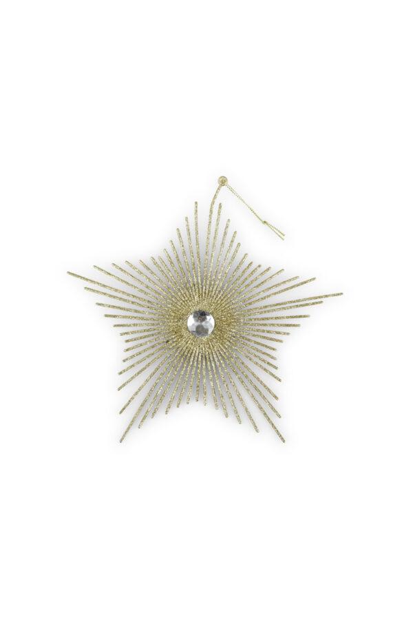 Set 6 Appendini Natale Stella glitterata oro e diamante centrale con cordino d.20 cm x h. 26 cm