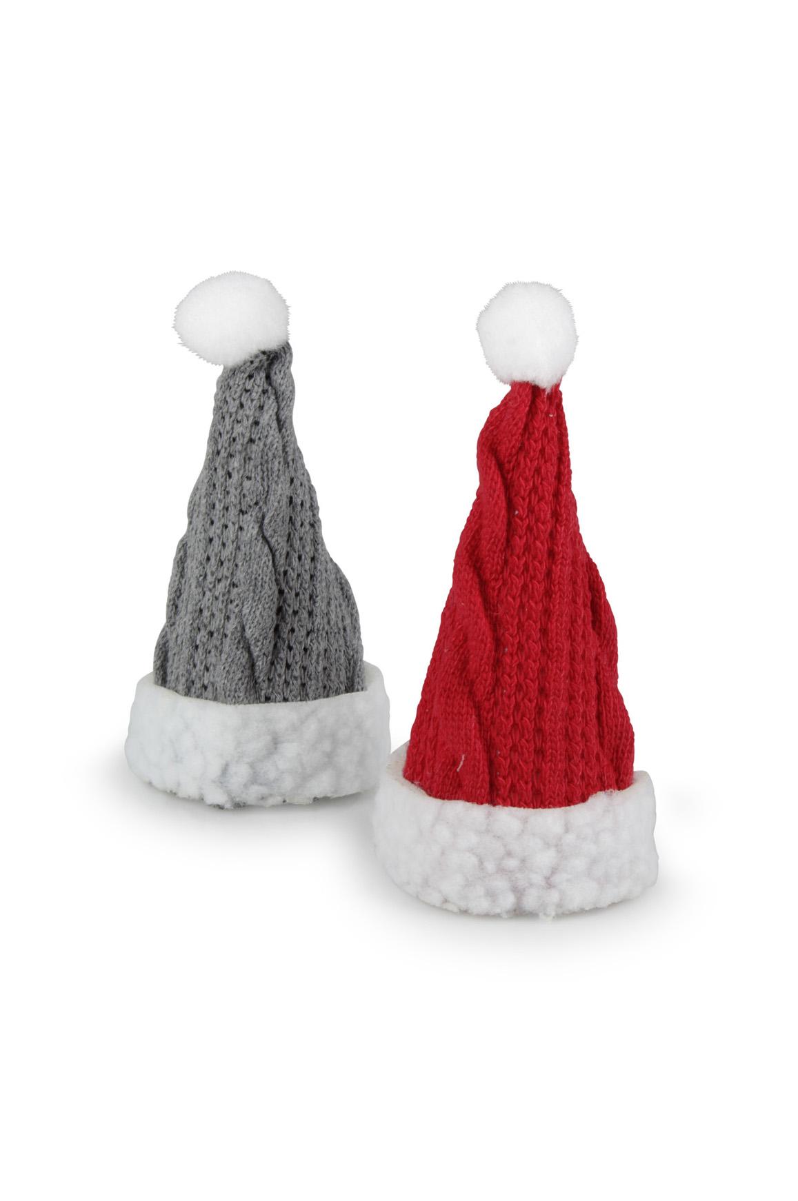 Set 8 Cappelli decorativi natalizi in lana con bordo in pelliccia sintetica rosso e grigio d. 6 x h. 13,5
