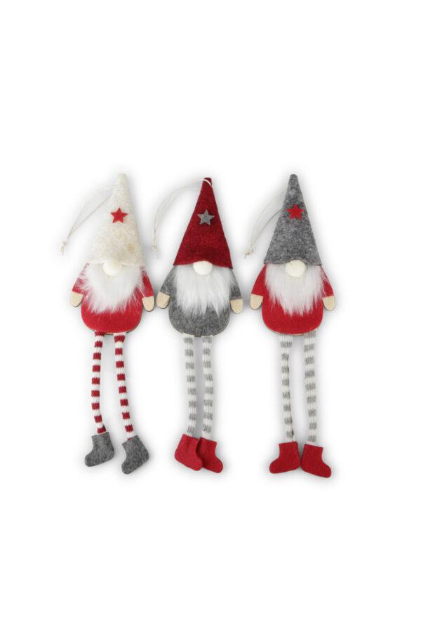 Set 3 Appendini Natale Gnomi in legno e tessuto con barba, cappellino e gambe lunghe h. 23 cm (h. con filo 30 cm)