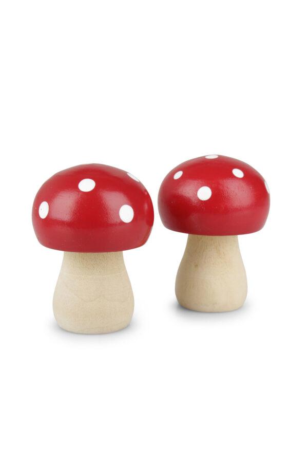 Set 4 Funghi decorativi in legno rossi a pois bianchi l. 4,5 x b. 3,4 cm