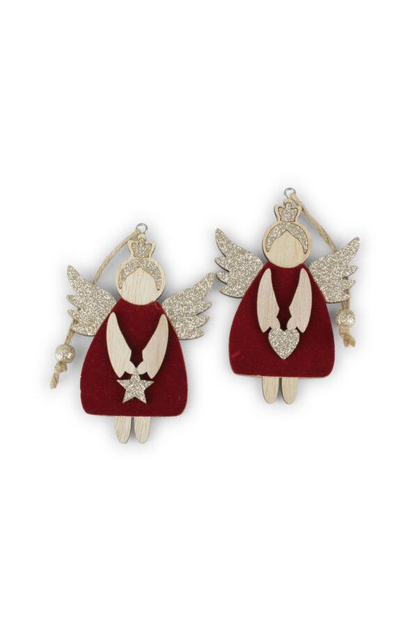 Set 2 Appendini Natale Angeli in legno rivestiti in velluto bordeaux e glitter con filo 11 x h. 21 cm