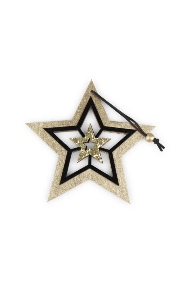 Set 9 Appendini Natale Stella in legno oro e nero con glitter oro e cordino d.12cm x h. 21,5 cm