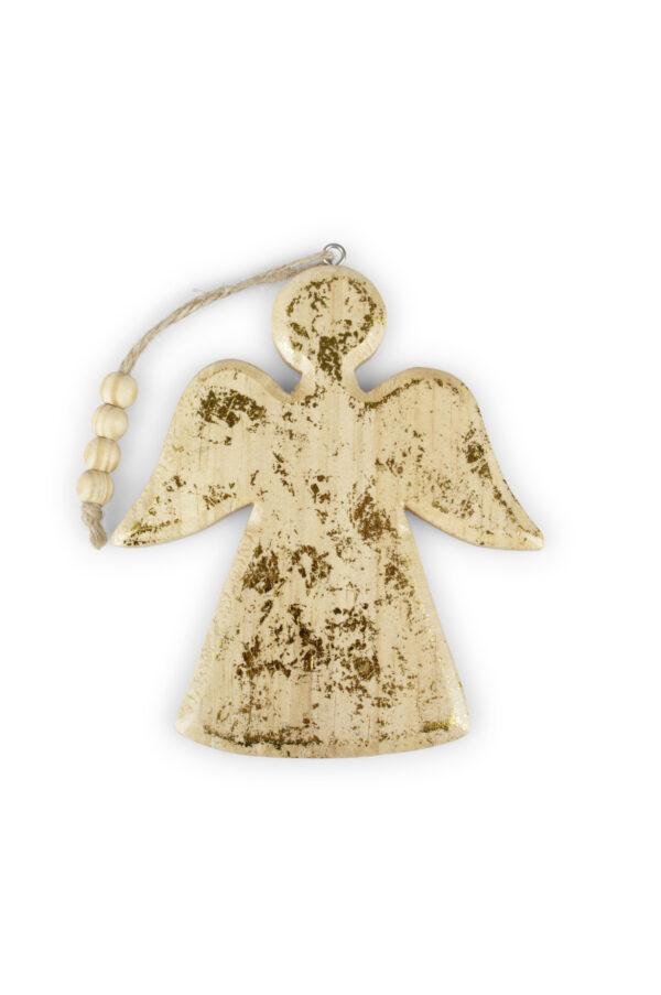 Appendino Angelo decorativo in legno sporco oro e con filo 13 x h. 23,5 cm