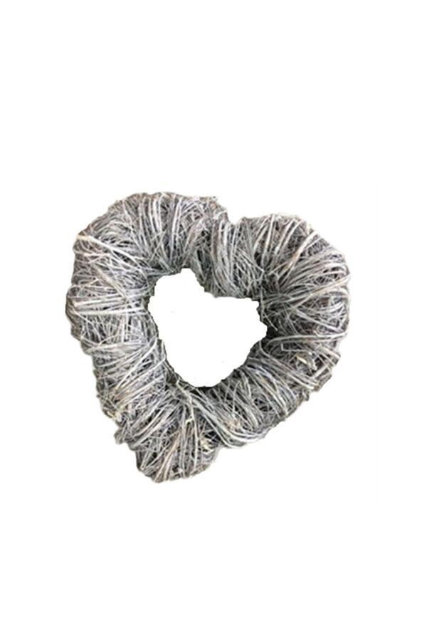 Ghirlanda - Corona di Natale a forma di Cuore con rami naturali ed essiccati sbiancati h. 40 cm
