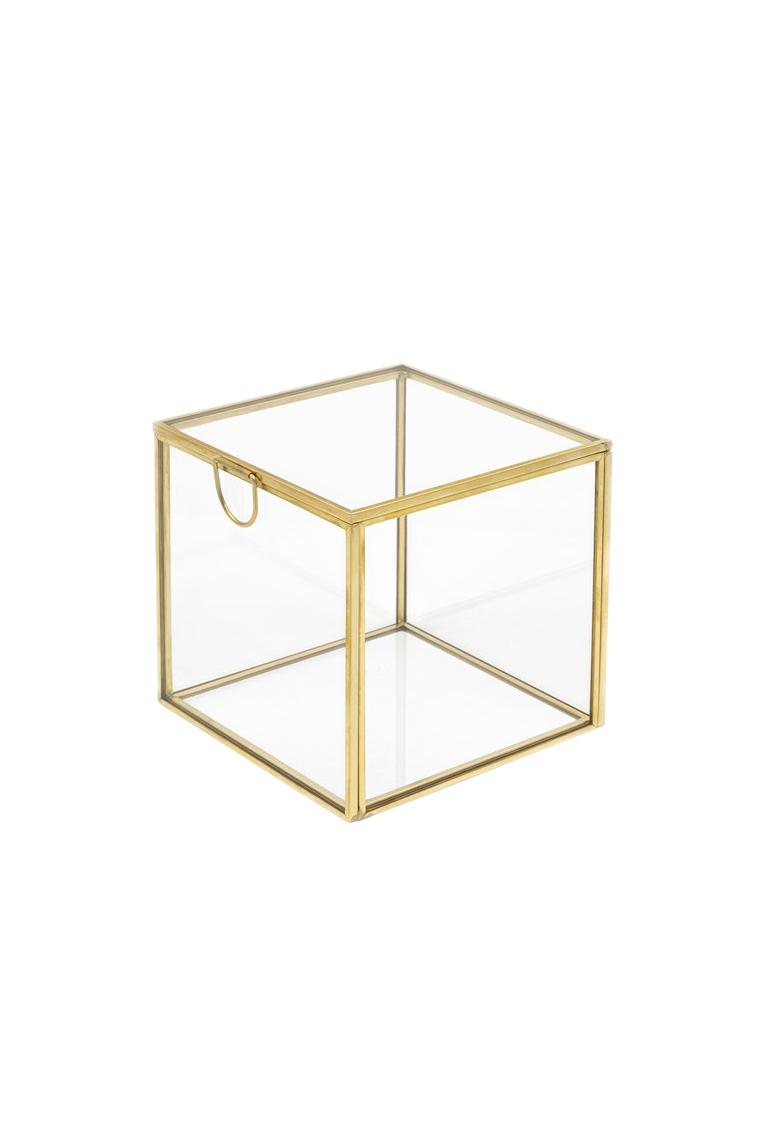 Scatola cofanetto quadrato in vetro e metallo oro 12 x 12 x 12 cm
