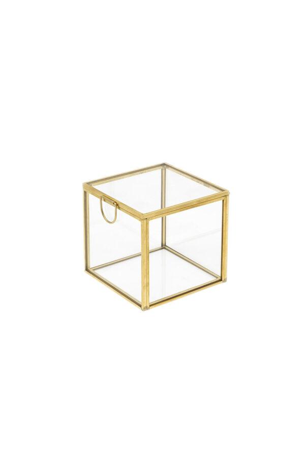 Scatola cofanetto quadrato in vetro e metallo oro 8 x 8 x 8 cm