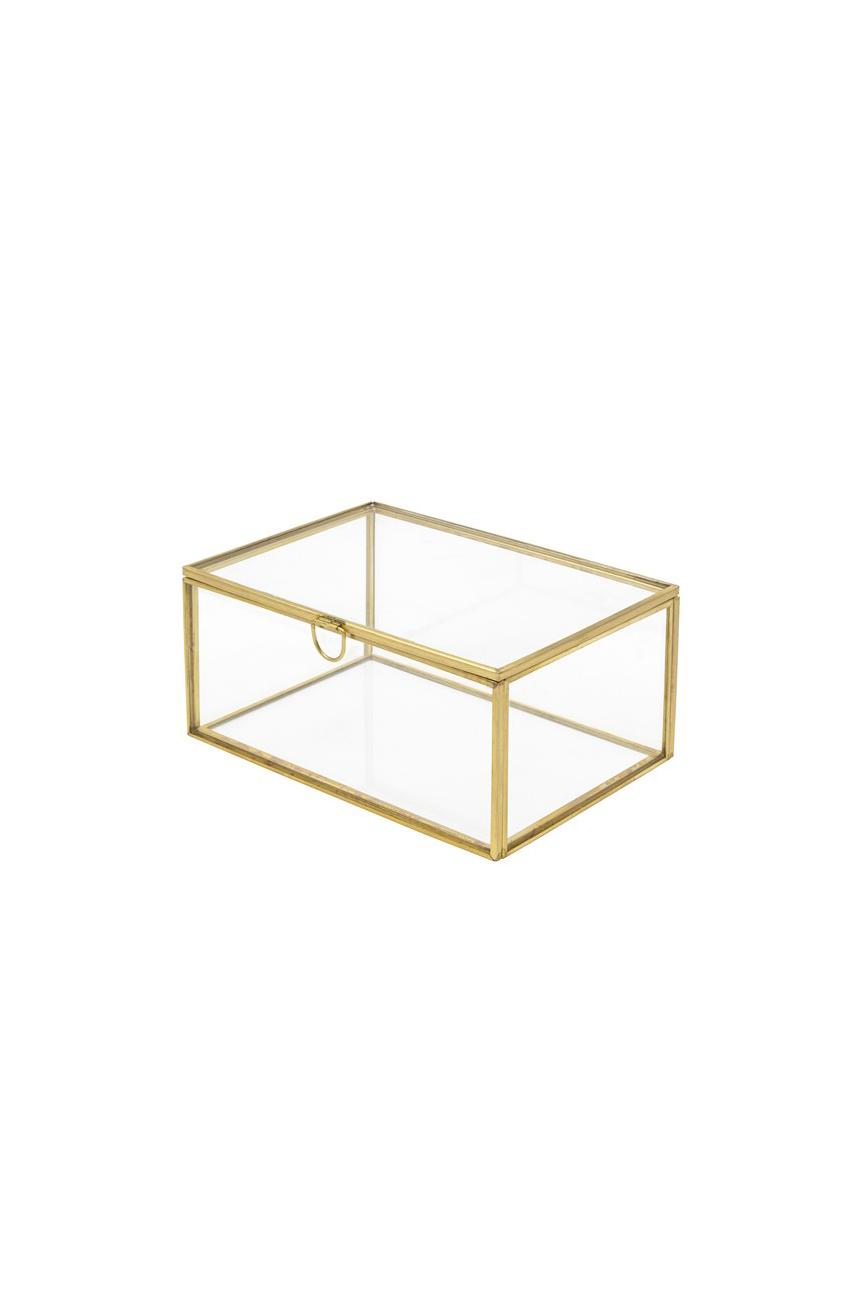 Scatola cofanetto rettangolare in vetro e metallo oro 7 x 10,5 x 15 cm