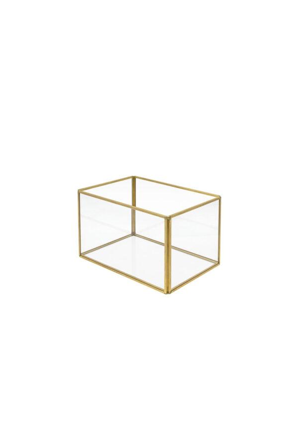 Scatola vaso rettangolare in vetro e metallo oro 12 x 12,5 x 24 cm