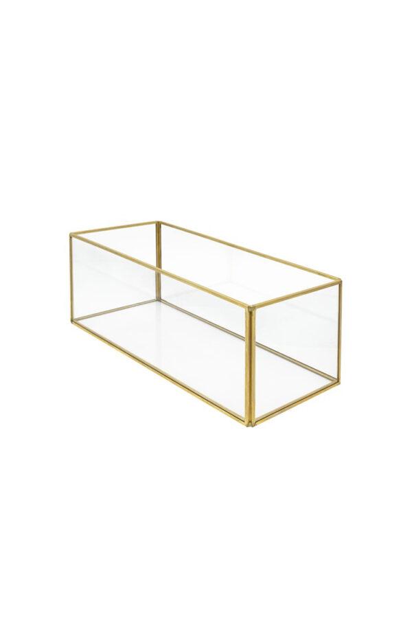 Scatola vaso rettangolare in vetro e metallo oro 10 x 12,5 x 18 cm