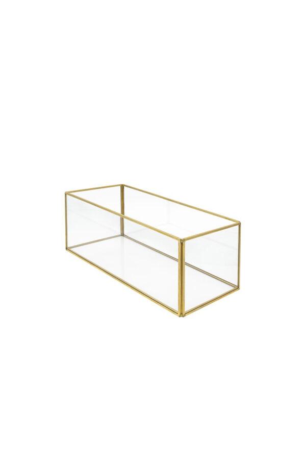 Scatola vaso rettangolare in vetro e metallo oro 12 x 12,5 x 30 cm