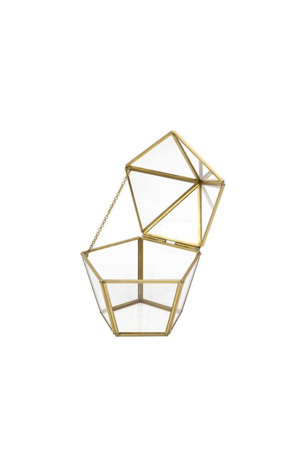 Scatola cofanetto pentagonale svasato in vetro e metallo oro 14 x 12,5 x 12,5 cm