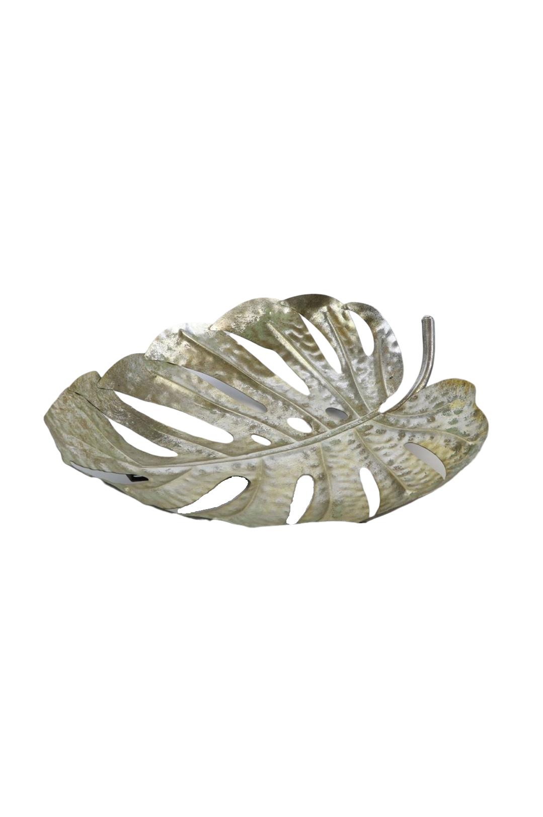Piatto Vassoio decorativo a forma di Foglia di Monstera in metallo color argento l. 42 x h. 6 cm