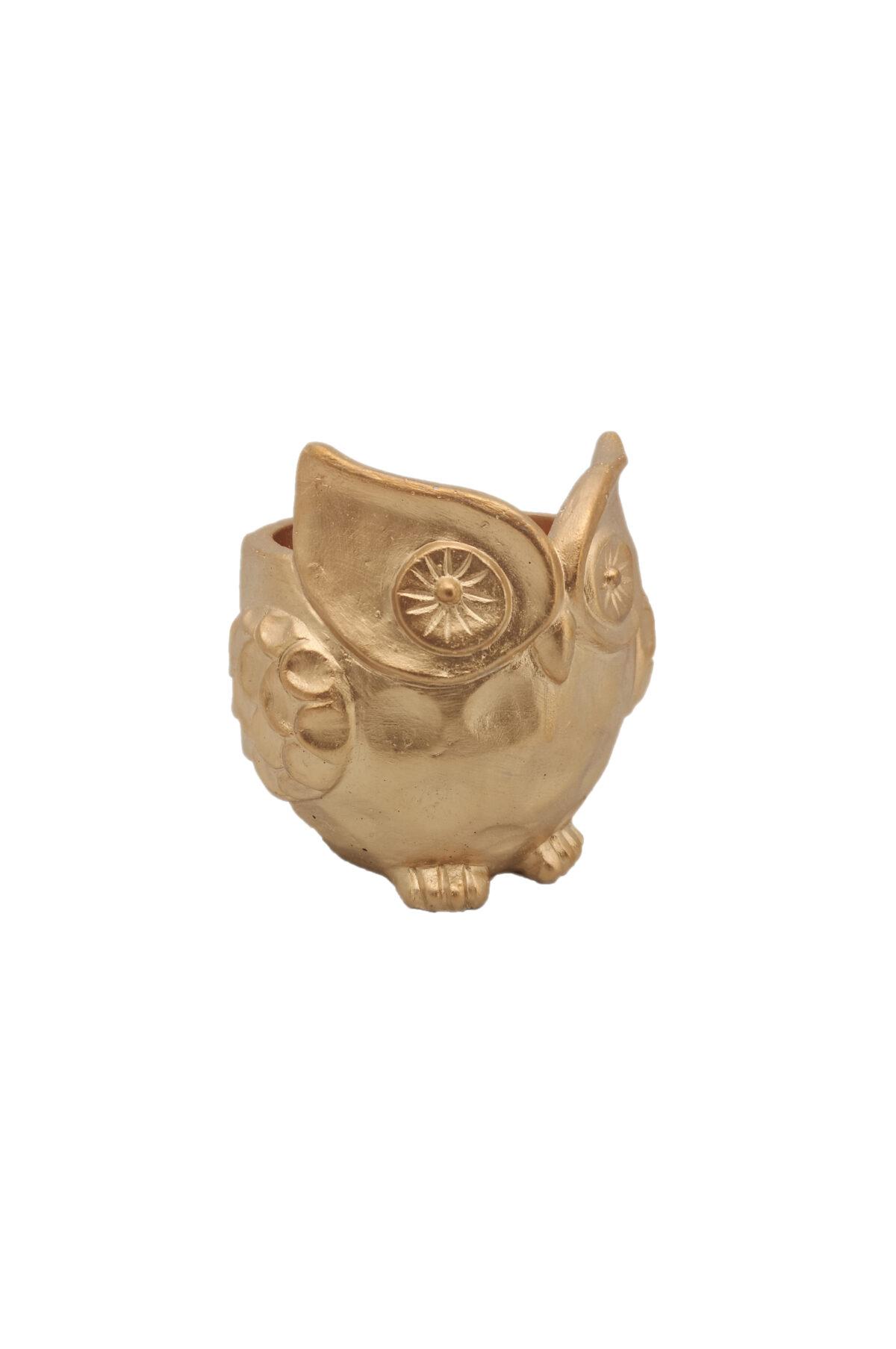 Vaso a forma di Gufo color oro 12x12 cm h. 12 cm