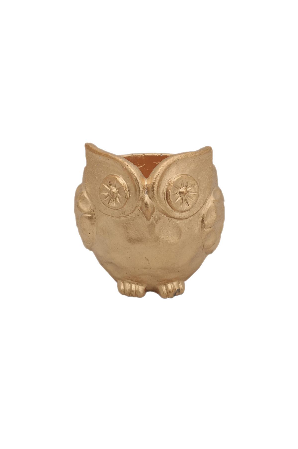 Vaso a forma di Gufo color oro 17 x 17 h. 17 cm
