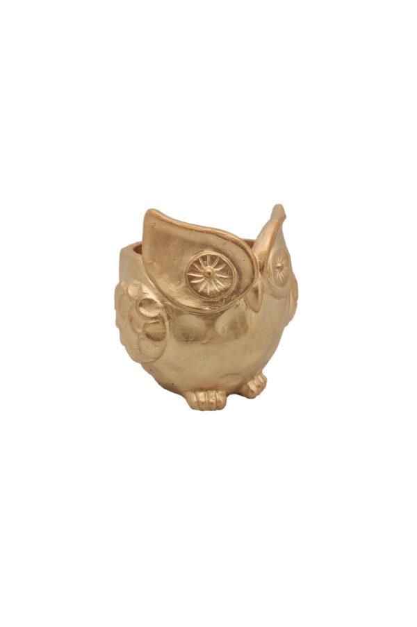 Vaso a forma di Gufo color oro 21 x 21 h. 21 cm