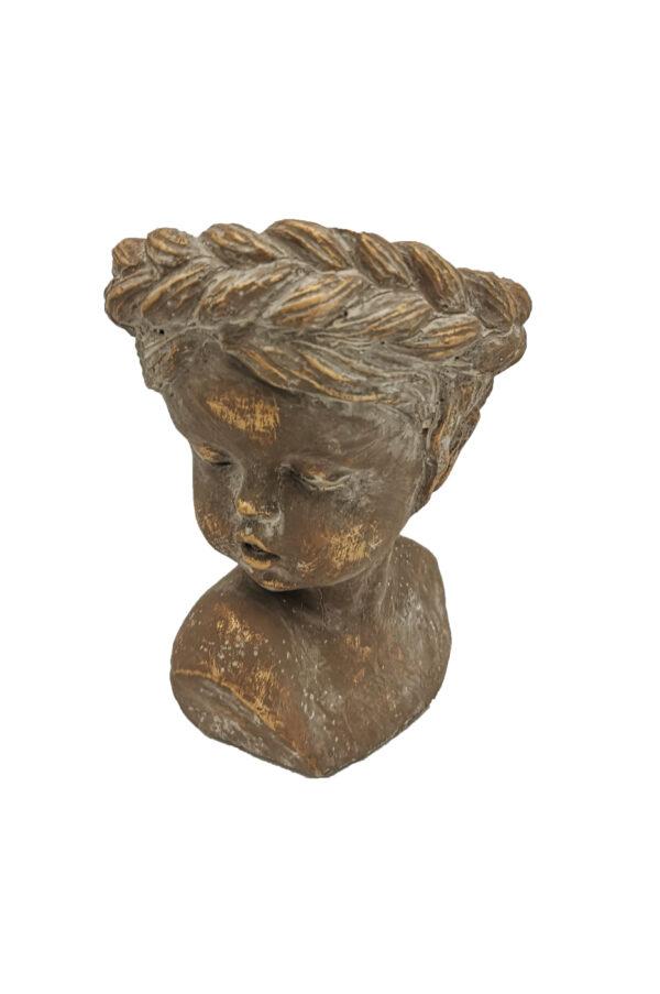 Vaso caspò Testa bambina con treccia color terra oro 22 x h. 31,5 cm
