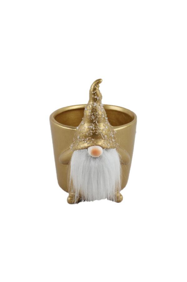 Vaso caspò svasato in ceramica color oro a forma di gnomo con soffice barba bianca 15,5x10 cm h. 14 cm