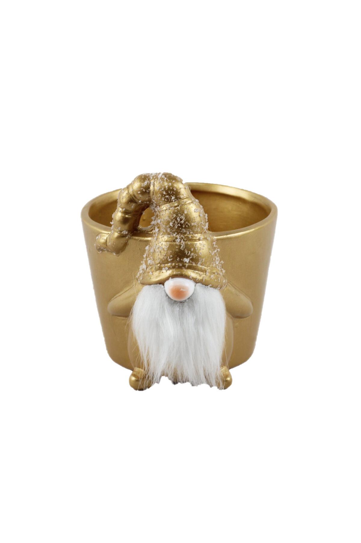 Vaso caspò svasato in ceramica color oro a forma di gnomo con soffice barba bianca 23x19 cm h. 21 cm