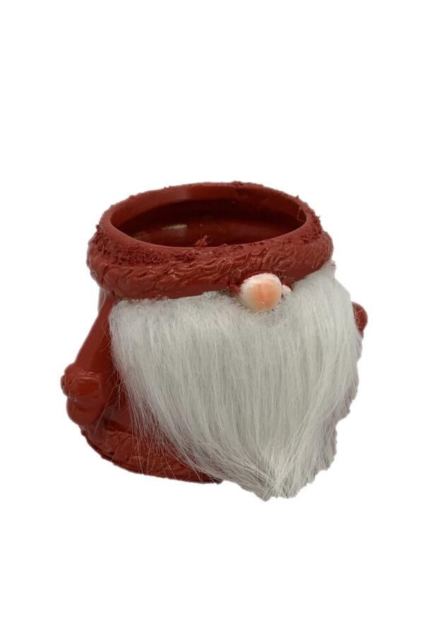Vaso caspò bombato in ceramica colore rosso a forma di gnomo con soffice barba bianca18x17 cm h. 13,5