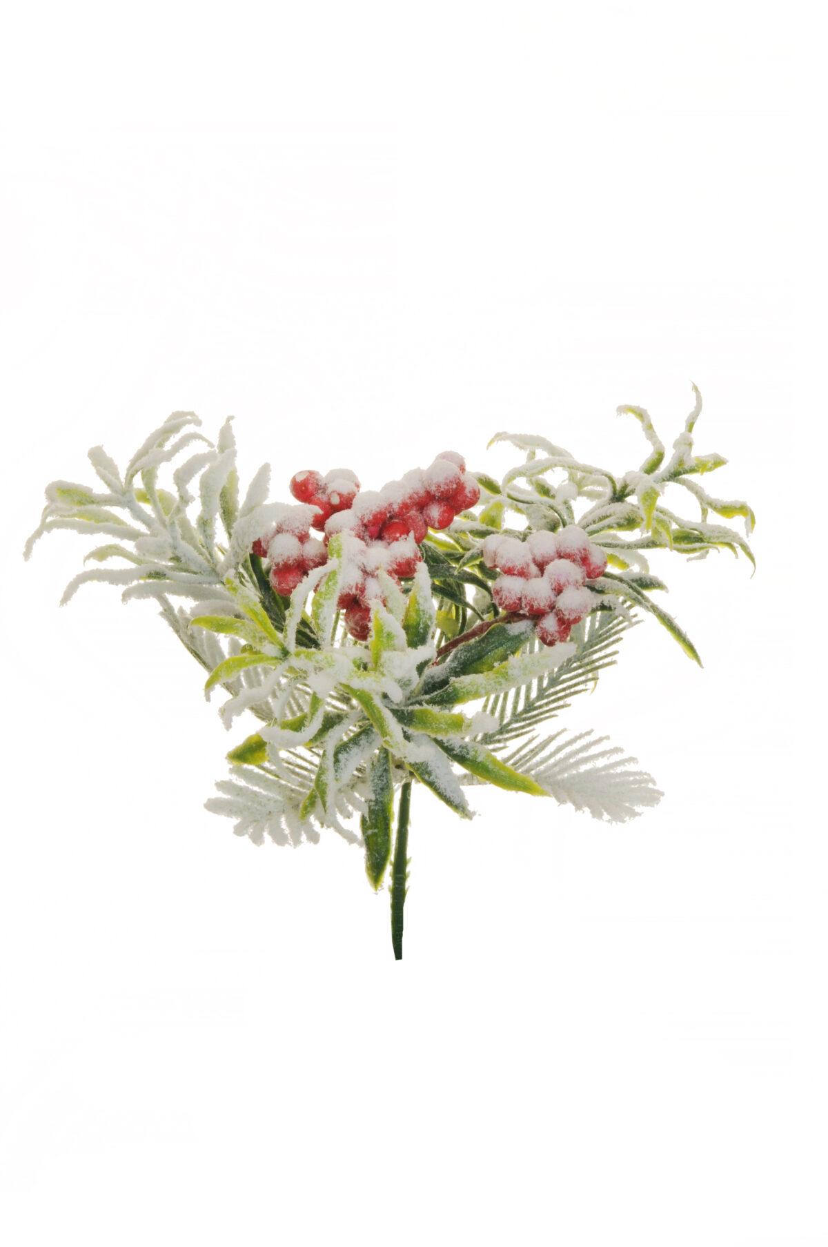 Set x6 Pick chiudipacco natalizio artificiale con bacche rosse e neve L. 15 cm