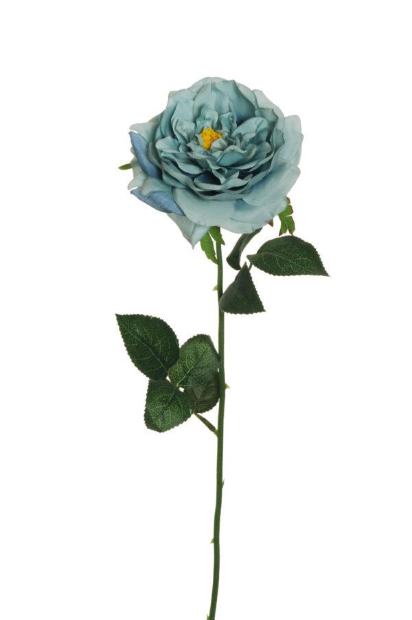 Rosa da giardino artificiale color light blue L. 58 cm.