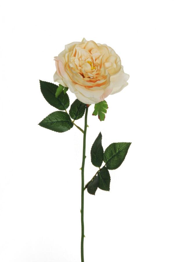 Rosa da giardino artificiale color crema L. 58 cm.