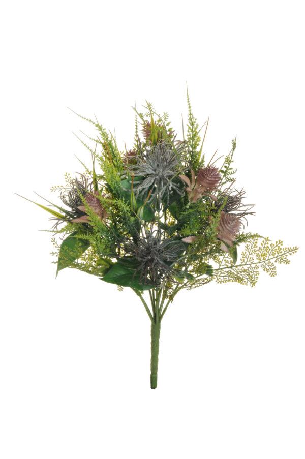 Pianta di cordifoglia ed echinops floccata e verde misto 40 cm.