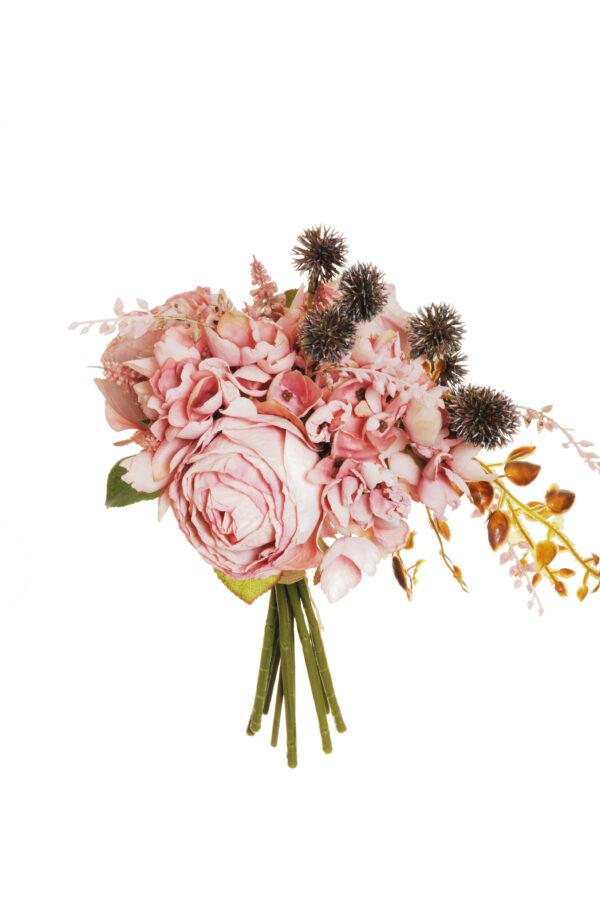 Bush misto color rosa effetto secco con rose Avalanche, Muscari ed Echinops artificiali 29 cm.