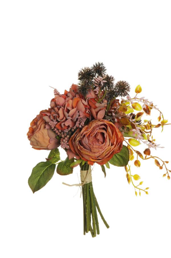 Bush misto color arancione effetto secco con rose Avalanche, Muscari ed Echinops artificiali 29 cm.