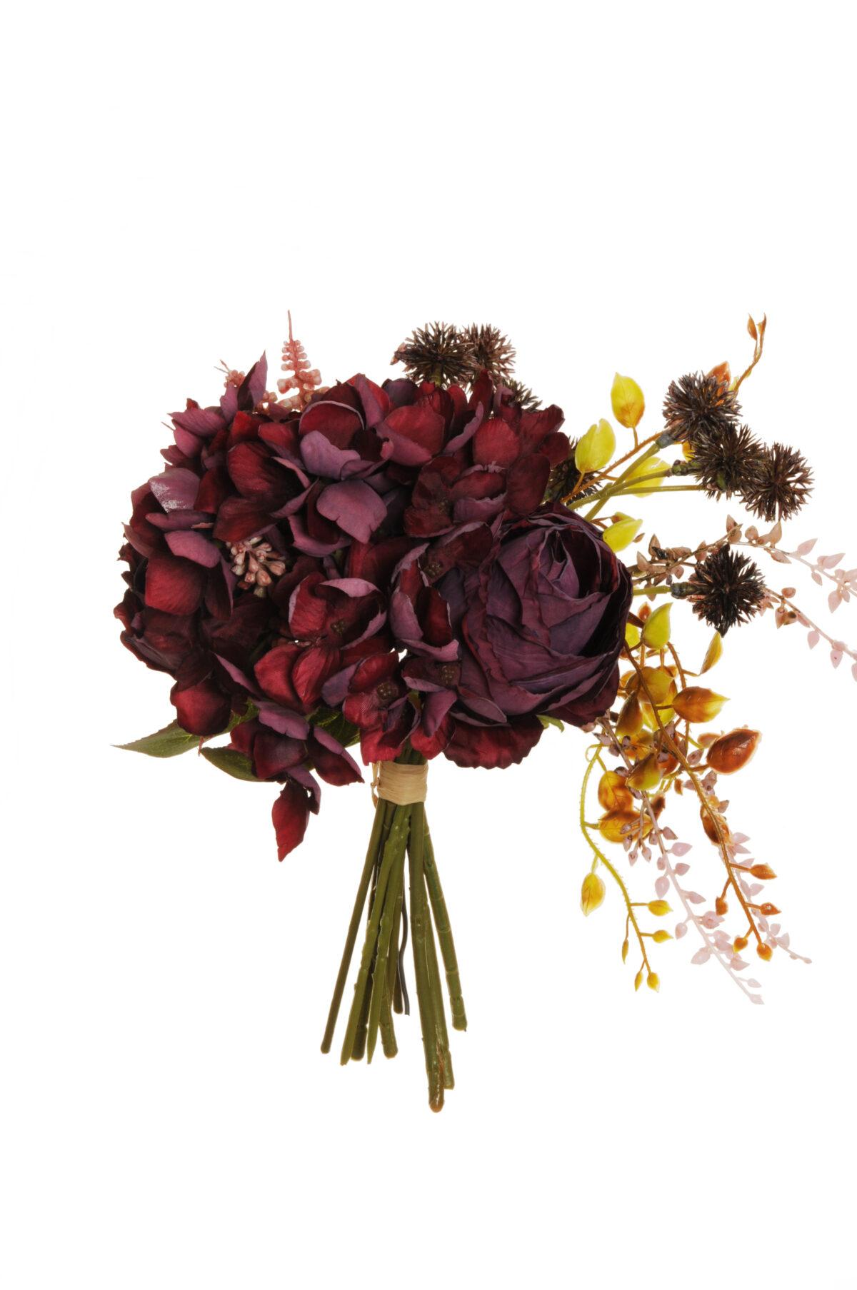 Bush misto color burgundy effetto secco con rose Avalanche, Muscari ed Echinops artificiali 29 cm.