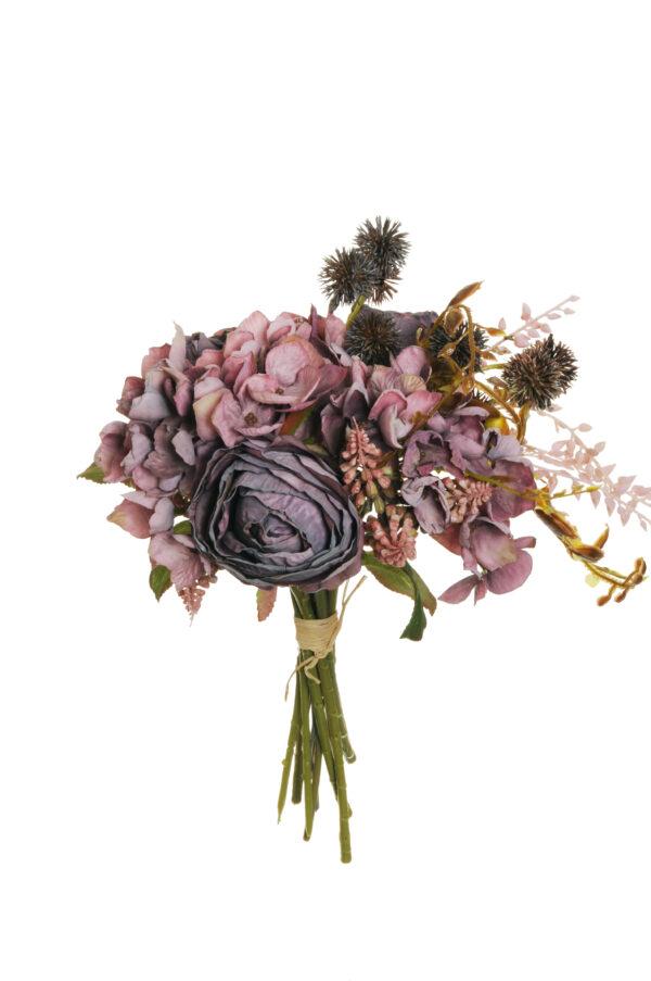 Bush misto color viola autunno effetto secco con rose Avalanche, Muscari ed Echinops artificiali 29 cm.