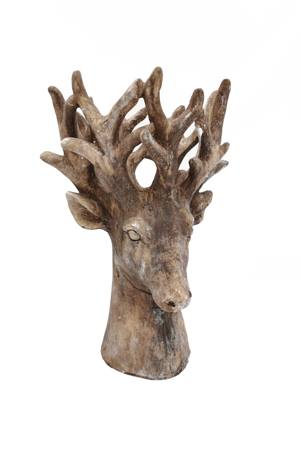 Testa decorativa soprammobile Alce con corna alte in resina 22 x 20 x h. 31 cm