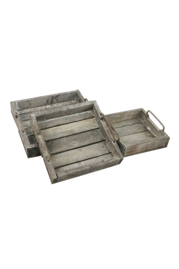 Set di 3 vassoi - cassette in legno sbiancato con manici in ferro