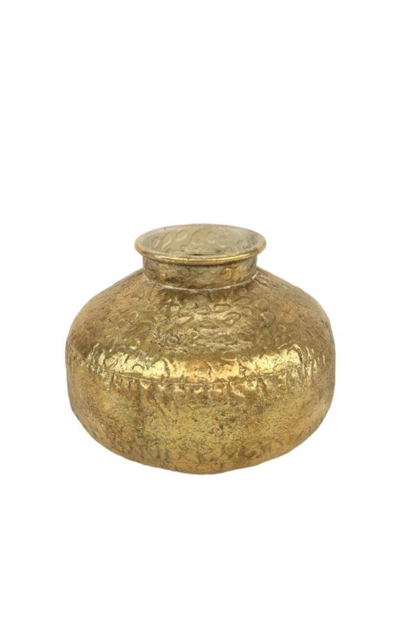 Vaso tondo portafiori in metallo martellato oro d. 27 x h. 23 cm