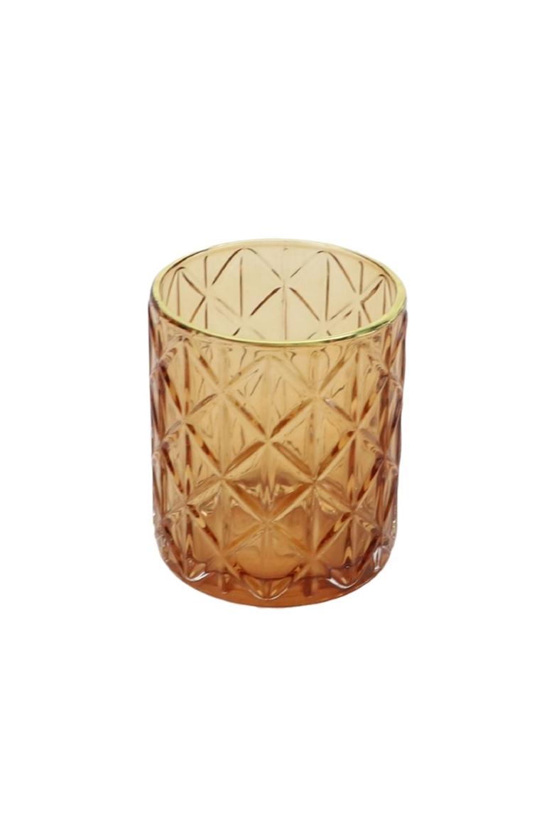 Porta T-light - portacandele in vetro color Ambra con disegno a rombi e bordino oro d. 8,5 cm h. 10 cm