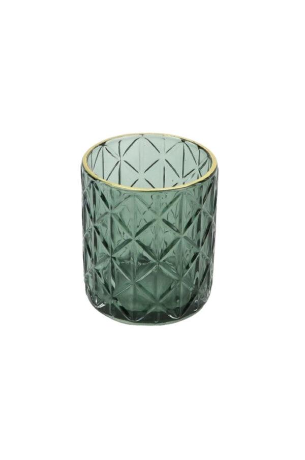 Porta T-light - portacandele in vetro colorVerde con disegno a rombi e bordino oro d. 8,5 cm h. 10 cm