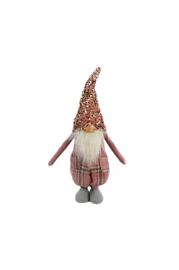 Gnomo di Natale decorativo con barba, cappello in paillettes e vestito tartan rosa in piedi l. 15 x h. 48 cm