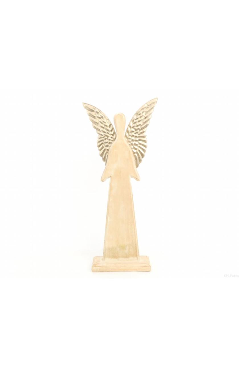 Decorazione di Natale Angelo in legno con ali in metallo oro 22 x h. 32 cm