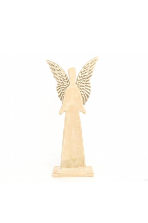 Decorazione di Natale Angelo in legno leggermente sbiancato con ali in metallo oro 40 x h. 55 cm