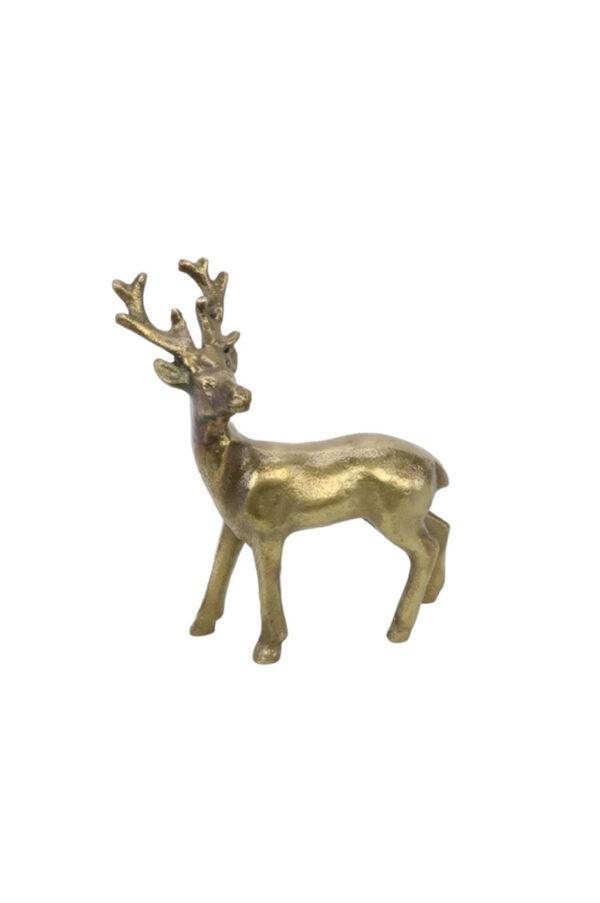Decorazione soprammobile di Natale Renna in piedi color bronzo 24 x h. 21 cm