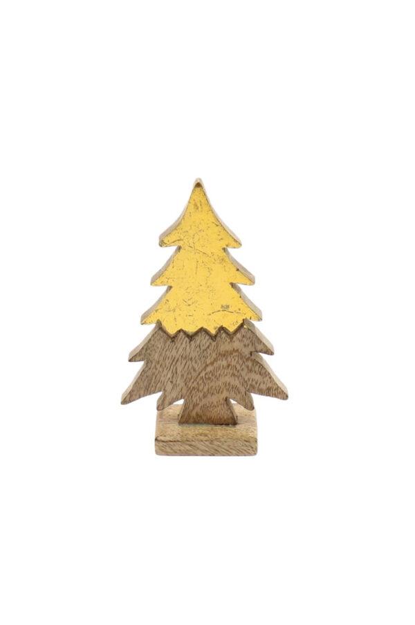Decorazione soprammobile Albero di Natale abete in legno color naturale e oro l. 11 x h. 19,5 cm.